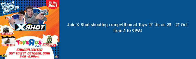 Join X-Shot shooting competition at Toys R Us