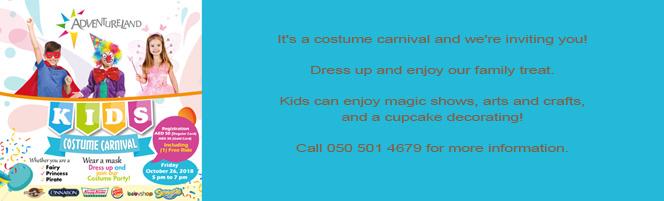 Adventurelands Kids Costume Carnival tomorrow, 26 Oct 2018