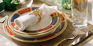 This 83-piece porcelain dinner set decorated with exquisite gold trimmings